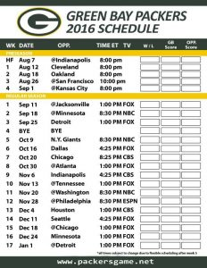 Complete 2016 Green Bay Packers Football TV Schedule