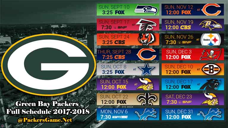 Green Bay Packers Full Schedule 2017-2018