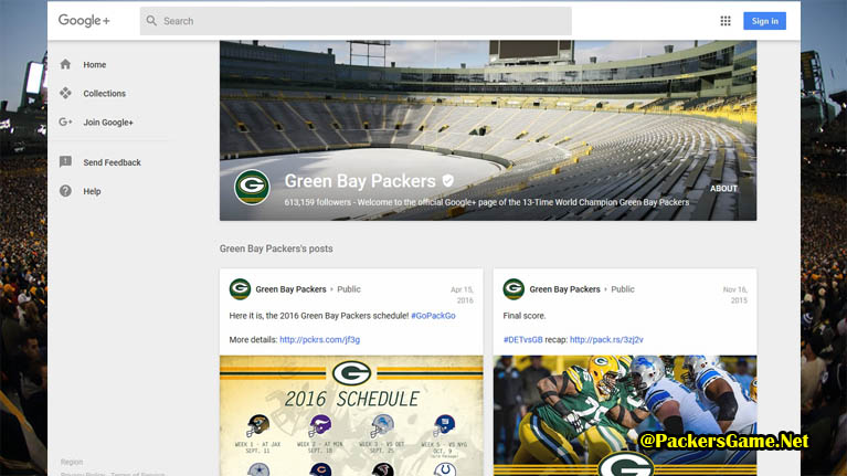 Green Bay Packers Google Plus Fans